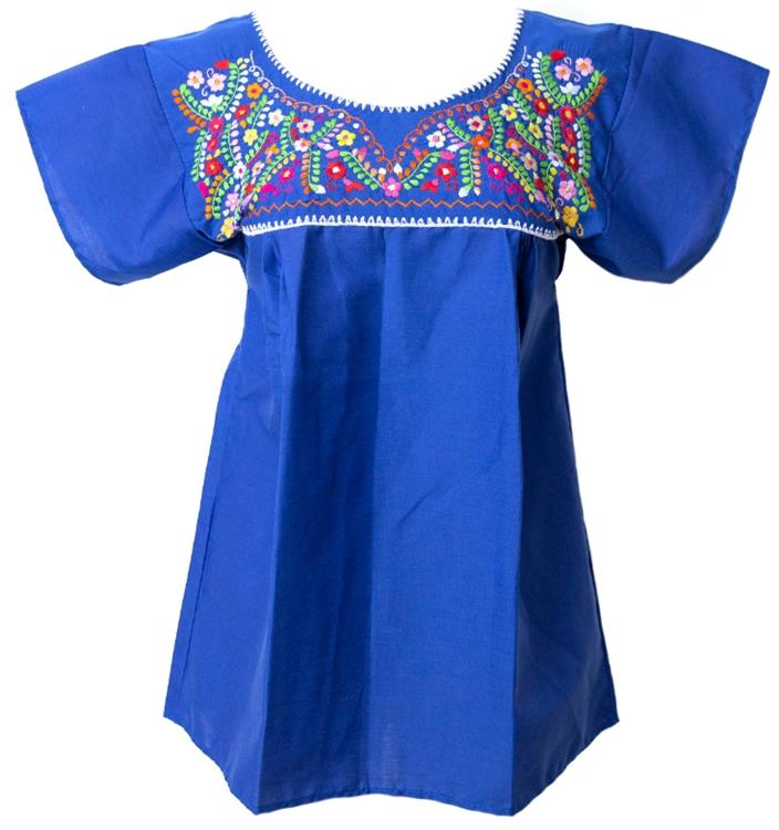Embroidered pueblo blouse royal blue