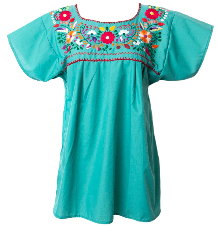 Embroidered pueblo blouse teal