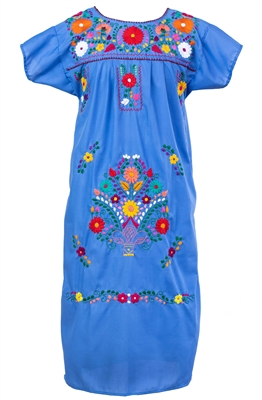 Embroidered Pueblo Dress - Blue (XXL)