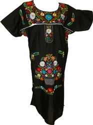 Embroidered Pueblo Dress - Black (XXXL)