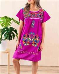 Knee Length Mexican Embroidered Pueblo Dress - Magenta