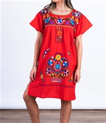 Knee Length Mexican Embroidered Pueblo Dress - Red