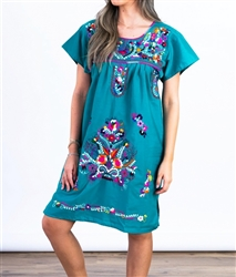 Knee Length Mexican Embroidered Pueblo Dress - Teal
