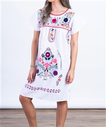 Knee Length Mexican Embroidered Pueblo Dress - White