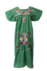 Mexican Embroidered Pueblo Dress - Green