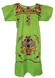 Embroidered Pueblo Dress - Lime Green