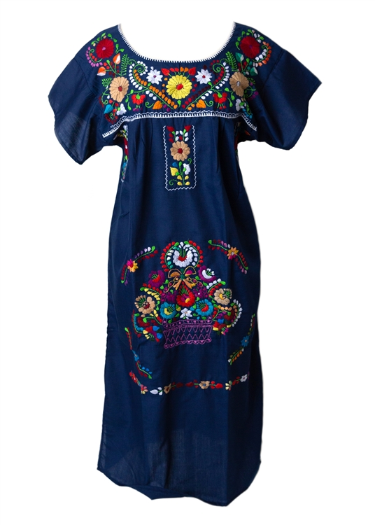 Mexican embroidered pueblo dress navy blue