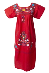 Embroidered Pueblo Dress - Red