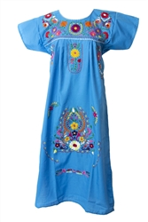 Mexican Embroidered Pueblo Dress - Turquoise