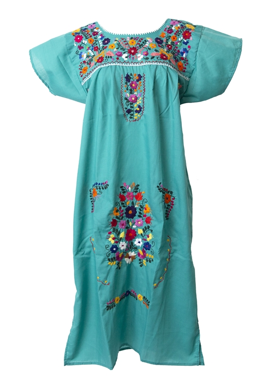 Mexican embroidered pueblo dress teal