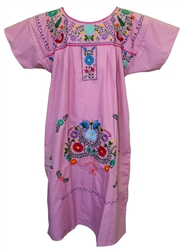 (XL) Mexican Embroidered Pueblo Dress - Unique 103
