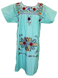 (XL) Mexican Embroidered Pueblo Dress - Unique 104