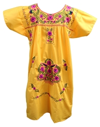 (XL) Mexican Embroidered Pueblo Dress - Unique 105