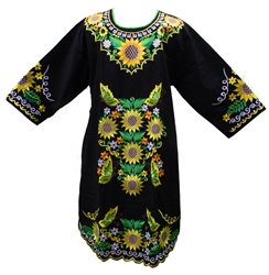 (2XL) Mexican Embroidered Pueblo Dress - Unique 151