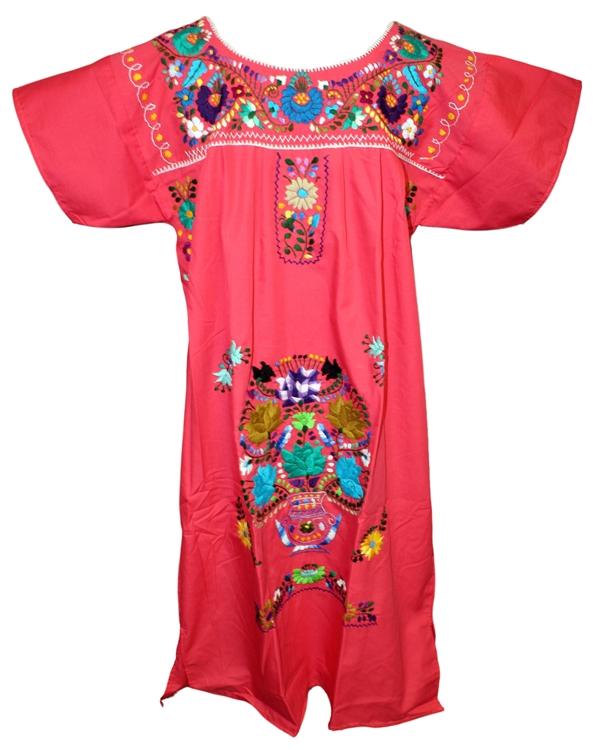 L mexican embroidered pueblo dress unique