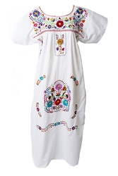 Mexican Embroidered Pueblo Dress - White