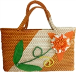 Woven Palm Tree Tote - Orange