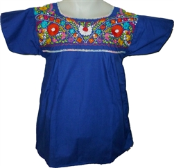 Embroidered Pueblo Blouse - Royal Blue (Medium)