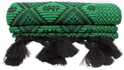 Mexican Rebozo Shawl - Geometric Green
