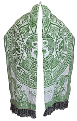 Mexican Azteca Rebozo Shawl - Lime Green