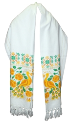 Mexican Rebozo Shawl - Peacock White with Yellow