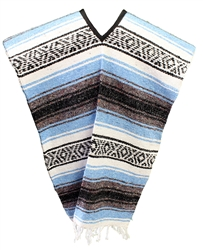 Traditional Mexican Blanket Poncho - Light Blue