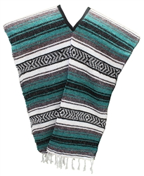 Traditional Mexican Blanket Poncho - Teal