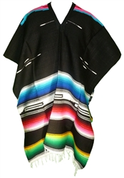 Tribal Serape Mexican Poncho - Black