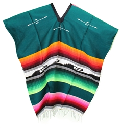 Tribal Serape Mexican Poncho - Green 2