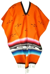 Tribal Serape Mexican Poncho - Orange