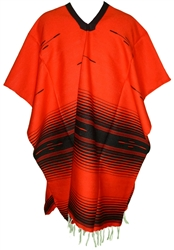 Tribal Serape Mexican Poncho - Red/Black