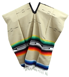 Tribal Serape Mexican Poncho - Tan