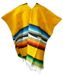 Tribal Serape Mexican Poncho - Yellow