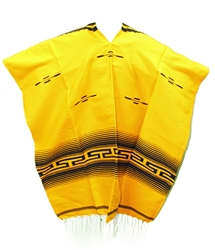 Tribal Serape Mexican Poncho - Yellow/Black