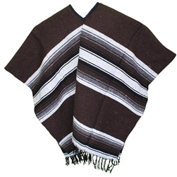Mexican Wide Western Poncho - Dark Brown