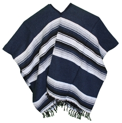 Mexican Wide Western Poncho - Navy Blue