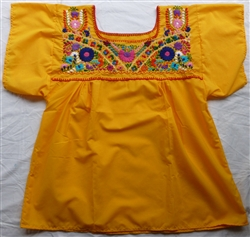 Embroidered Pueblo Blouse - Yellow (Medium)