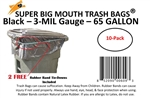 65 Gallon Trash Bags 10 Pack Super Big Mouth Large Industrial 65 GAL Garbage Bags Can Liners