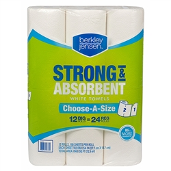 Berkley Jensen Premium Quilted Kitchen Paper Roll Towels SELECT-A-SIZE - 12 x 160ct