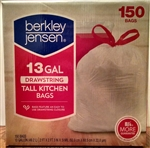 Berkley & Jensen White Drawstring 13 Gallon Kitchen Bags 150ct