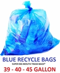 "39 - 40 - 45  Gallon BLUE RECYCLE Trash Bags 40"" x 46"" 1-MIL - Flat Packed - 100 Bags"