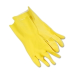 Yellow Flock Lined Latex Rubber Cleaning Gloves Large 1-Dozen