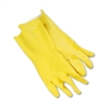 Yellow Flock Lined Latex Rubber Cleaning Gloves Small 1-Dozen