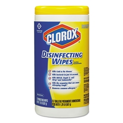 Model CLO 015948CT Clorox Disinfecting Disinfectant Wipes Lemon Fresh Scent 6 x 75ct.