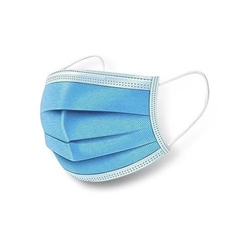 Magid Model MM005 - 3-Ply Disposable General Purpose Blue Ear-Loop Face Masks - 4 x 50ct Boxes - 200ct