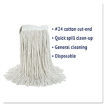 In-House Brand #24 WHITE Cut End Cotton Mop Head - 1 Each.