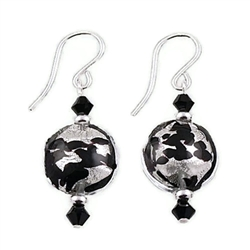Black and Silver Glass Earrings SS