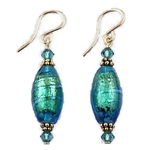 Teal-Colored Glass Earrings GF
