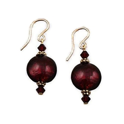 Red Glass Earrings GF