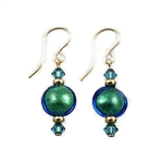 Teal and Silver Glass Earrings SS